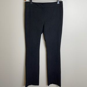 Laura charcoal grey flat front boot cut trousers with faux leather trim size 8